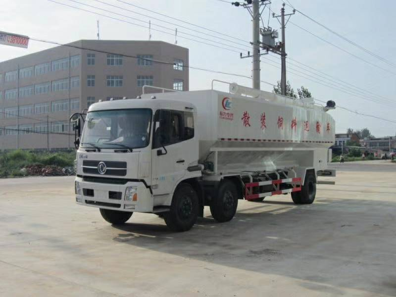 东风天锦小三轴30方散装饲料车的价格图片