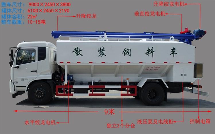 陕汽轩德20方散装饲料运输车
